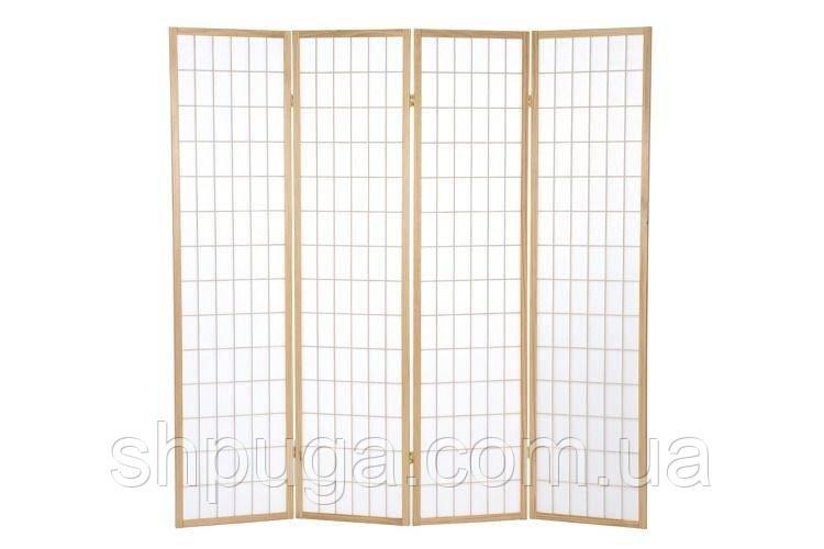 Декоративная ширма, арт 78 деревянный каркас, светлый, мелкая клетка