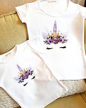 Family look парные футболки Единорог мама и дочка комплект