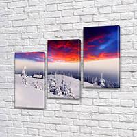 Модульная картина Космос и снег, зима на Холсте, 100х110 см, (70x35-3), Триптих