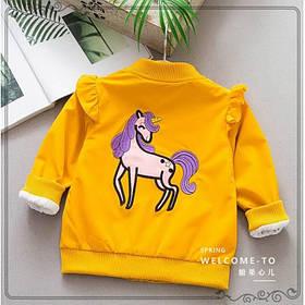 Ветровка детская на девочку с лошадкой желтая  весна-лето 1-4 года  100