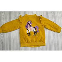Ветровка детская на девочку с лошадкой желтая  весна-лето 1-4 года , фото 2