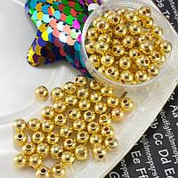 (20 грамм) Жемчуг бусины пластик Ø6мм (прим. 170-180 шт) Цвет - Золото