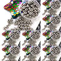 (500 грамм) ОПТ Жемчуг бусины пластик Ø6мм (прим. 4500 шт) Цвет - СЕРЕБРО