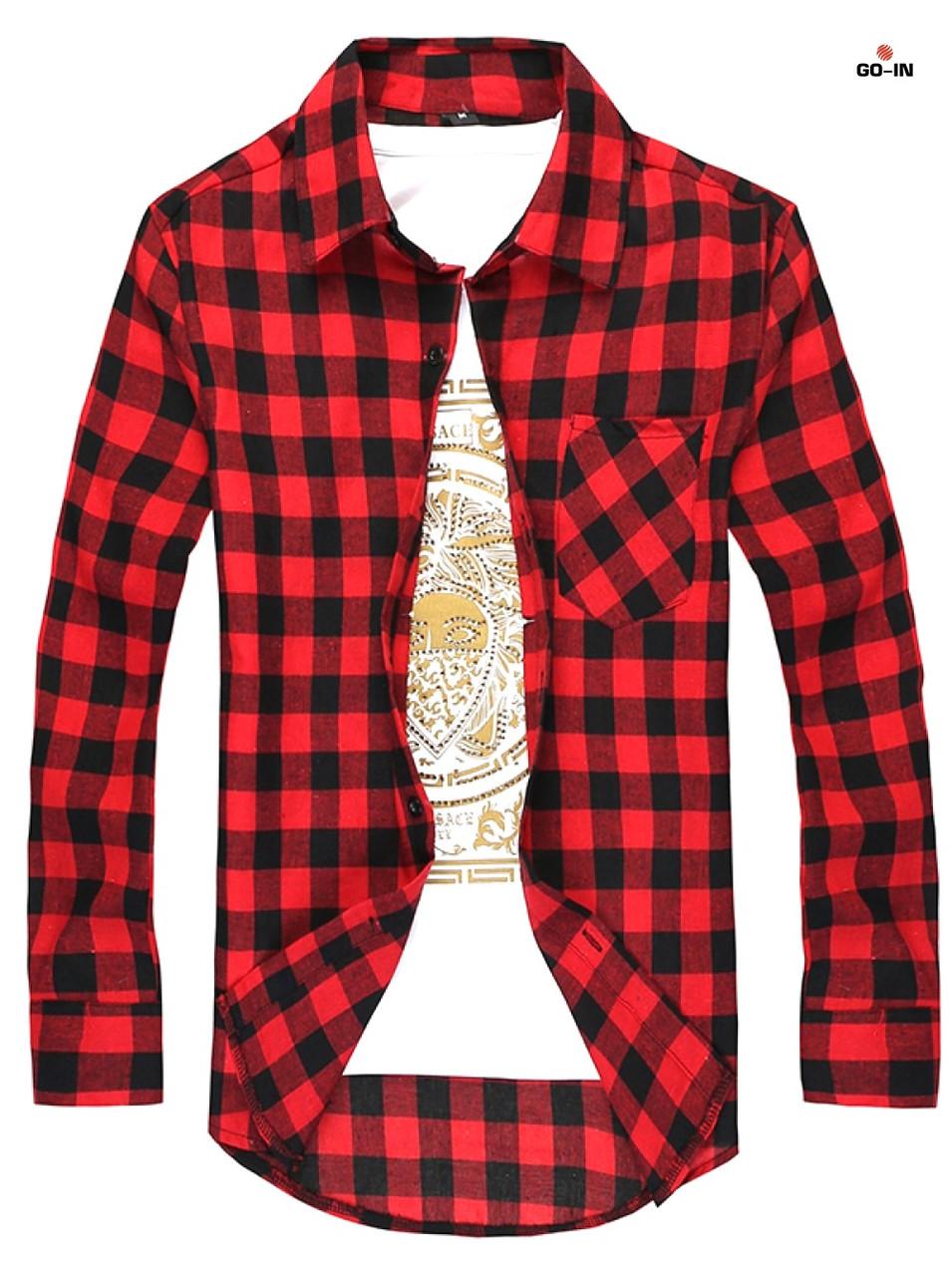 Мужская рубашка в клетку красная с длинным рукавом