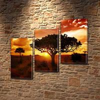 Модульная картина Африканский закат, силуэты деревьев на Холсте, 100х110 см, (70x35-3), Триптих, фото 1