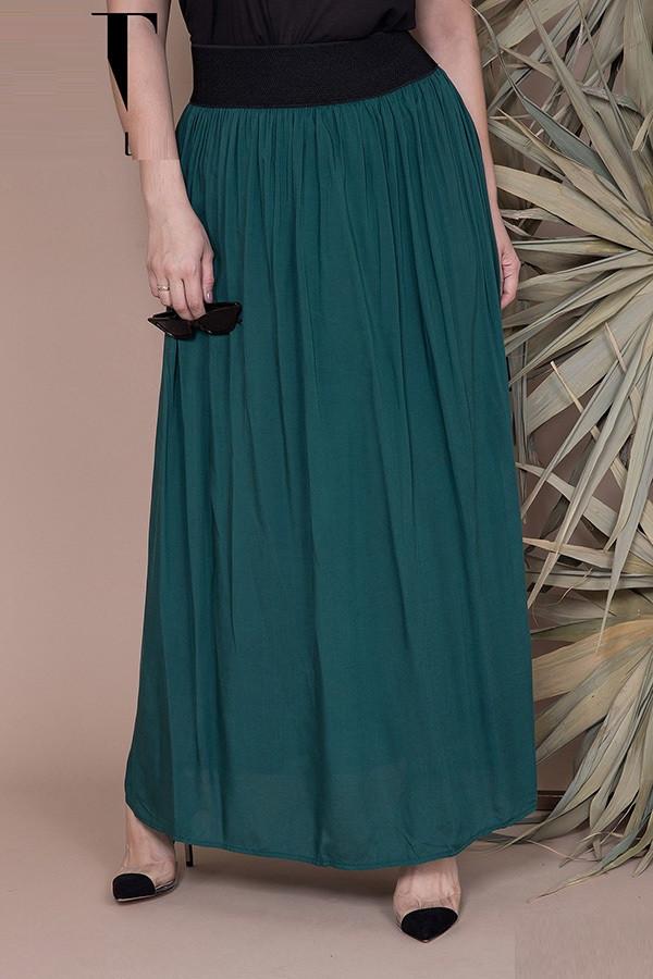 Штапельная юбка в пол на резинке 45770 (42–60р) в расцветках, фото 1