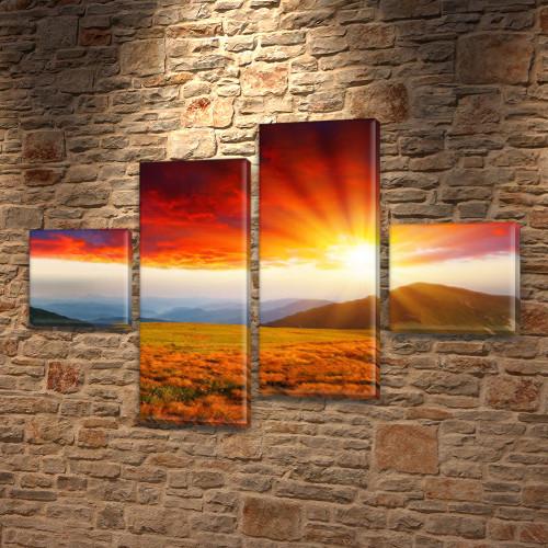 Модульная картина Горы Лучи рассвета в горах на ПВХ ткани, 70x110 см, (25x25-2/65х25-2), из 4 частей