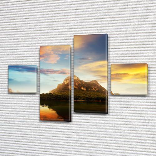 Модульная картина Горы Гора на фоне воды и неба на ПВХ ткани, 70x110 см, (25x25-2/65х25-2), из 4 частей
