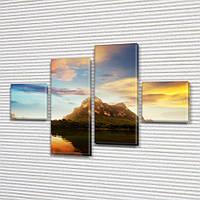Модульная картина Горы Гора на фоне воды и неба на ПВХ ткани, 70x110 см, (25x25-2/65х25-2), из 4 частей, фото 1
