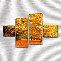 Модульная картина Алея желтых кленов, осень, осенние деревья на ПВХ ткани, 70x110 см, (25x25-2/65х25-2), из 4 частей