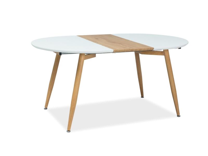 """Розкладний кухонний стіл """"Avon"""" (білий\дуб) 120*100см"""