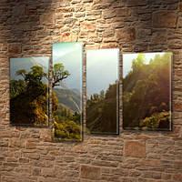 Модульная картина Зеленая горная долина с деревьями на Холсте, 90x130 см, (65x35-2/90х25/75x25), из 4 частей