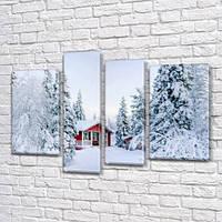 Модульная картина Заснеженный домик, снег, зима на Холсте, 90x130 см, (65x35-2/90х25/75x25), из 4 частей