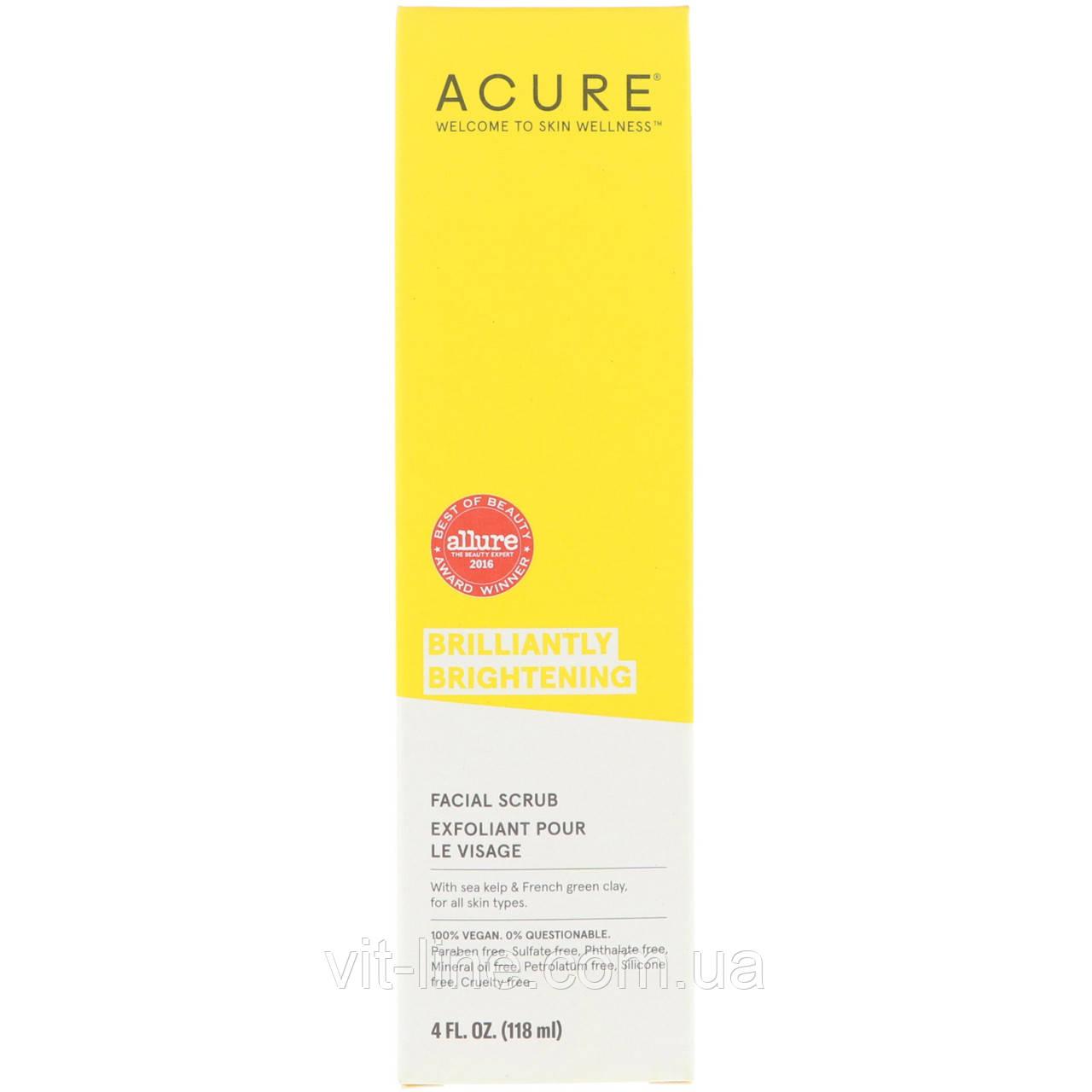 Acure, Осветляющий кожу скраб для лица, 118 мл