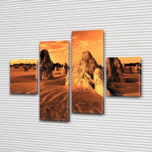 Модульная картина Пустыня и каменные глыбы на ПВХ ткани, 85x110 см, (35x25-2/75х25-2), из 4 частей