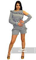Женский комбинезон шортами с рюшами