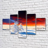 Модульная картина Контраст Яркое небо и белый снег, заснеженные деревья, 95x135 см, (40x25-2/70х25-2/95x25), из 5 частей