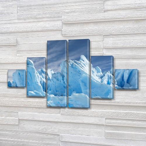 Модульная картина Голубые айсберги, лед на ПВХ ткани, 75x130 см, (20x20-2/45х20-2/75x20-2), из 6 частей