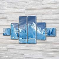 Модульная картина Голубые айсберги, лед на ПВХ ткани, 75x130 см, (20x20-2/45х20-2/75x20-2), из 6 частей, фото 1