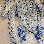 """Шаль вышитая """"""""Гжель"""""""" Ш-00051, белый,синяя вышивка, оренбургский платок (шаль) с вышивкой, фото 7"""