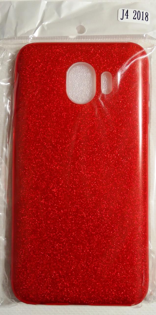 Силіконовий чохол Samsung J400 J4 2018 Red (бльостки)
