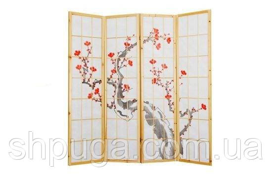 Декоративная ширма, арт 69, японский мотив, светлая рама, крупная клетка