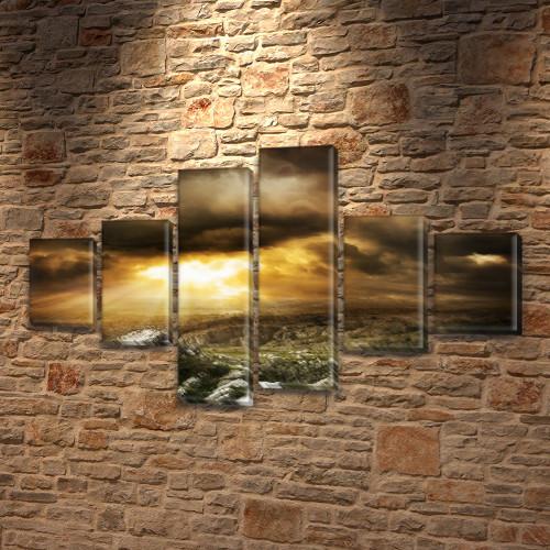 Модульная картина Серая пустошь на ПВХ ткани, 80x135 см, (30x20-2/40х20-2/75x20-2), из 6 частей