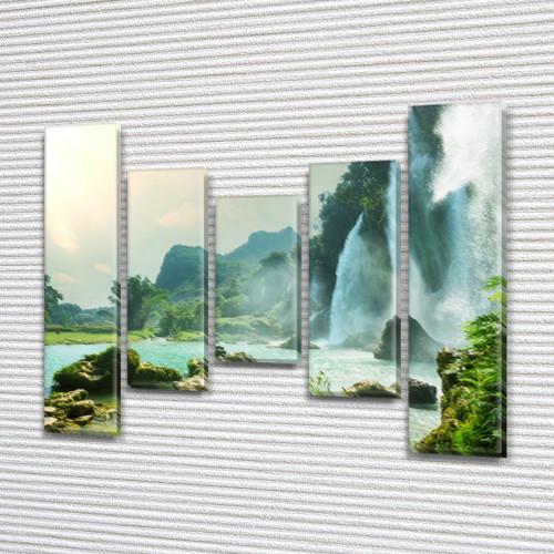 Модульная картина Водопады, горы и озеро на ПВХ ткани, 90x110 см, (90x20-2/60х20-2/45x20), из 5 частей