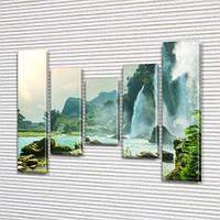 Модульная картина Водопады, горы и озеро на ПВХ ткани, 90x110 см, (90x20-2/60х20-2/45x20), из 5 частей, фото 1