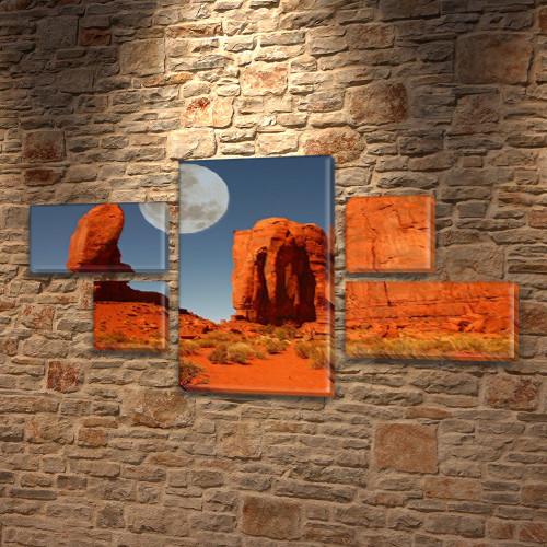 Модульная картина Горы Красные горы и Луна Космос на Холсте, 80x140 см, (25x45-2/25х25-2/80x45), из 5 частей