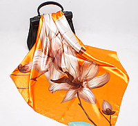 Платок 90х90 Магнолия / Оранжевый Р-074