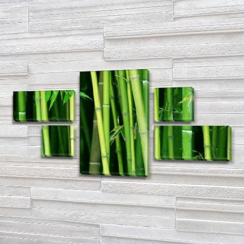 Модульная картина Зеленый бамбук на Холсте, 80x140 см, (25x45-2/25х25-2/80x45), из 5 частей