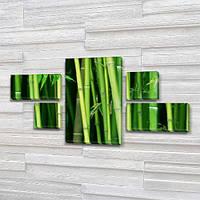 Модульная картина Зеленый бамбук на Холсте, 80x140 см, (25x45-2/25х25-2/80x45), из 5 частей, фото 1