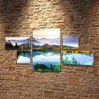 Модульная картина Горное озеро, отражение гор в воде на Холсте, 80x140 см, (25x45-2/25х25-2/80x45), из 5 частей