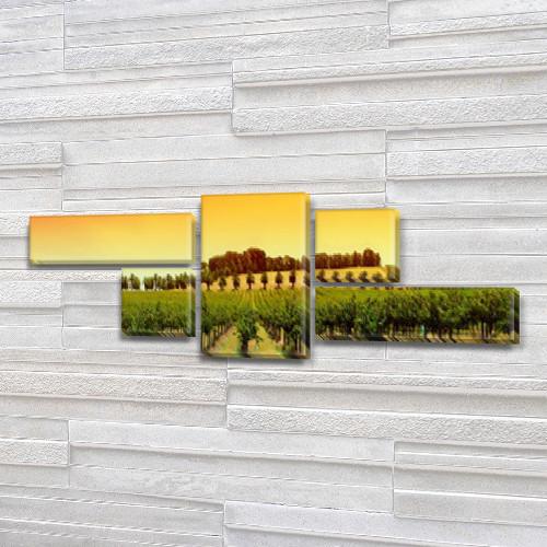 Модульная картина Виноградники, плантация ряды на Холсте, 80x190 см, (25x70-2/35х35-2/80x45), из 5 частей