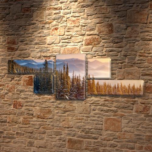 Модульная картина Хвойный лес и горы, ели на Холсте, 80x190 см, (25x70-2/35х35-2/80x45), из 5 частей