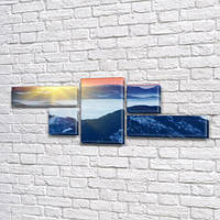 Модульная картина Горы Синева гор и озеро на Холсте, 80x190 см, (25x70-2/35х35-2/80x45), из 5 частей
