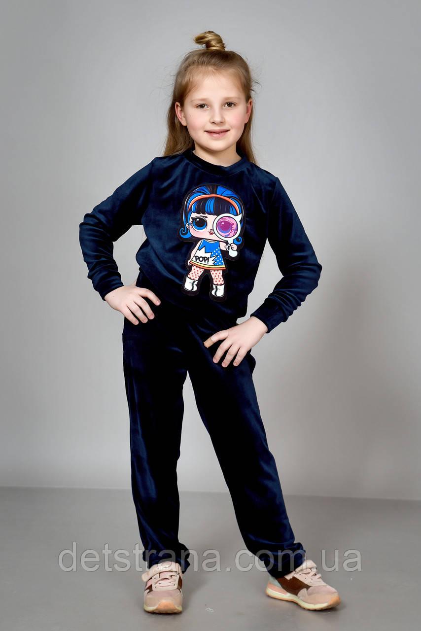 Велюровый костюм для девочки с аппликацией