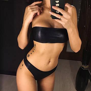 Раздельный женский купальник бандо + бразилиана черный размер S, M