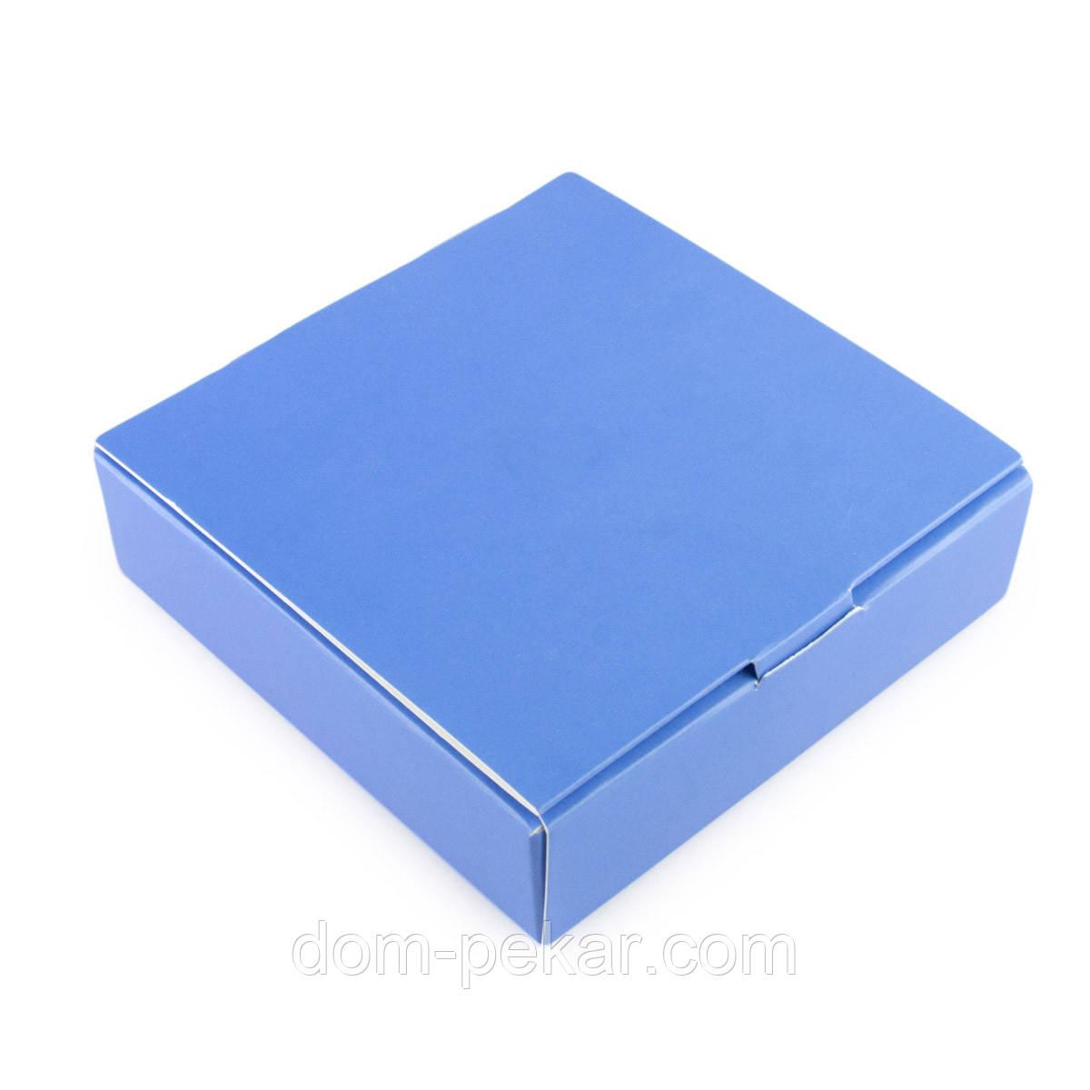 Упаковка для конфет с 4 ячейками голубая 112*112*30мм
