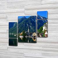Модульная картина Горы Горный город на берегу озера на Холсте, 120x130 см, (60x30-2/25х30-2/95x65), из 5 частей