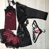 Красивая одежда для дома, комплект тройка халат+майка+шорты.