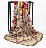 Платок 90х90 Хаки с цветами Р-057