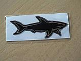 Наклейка s силиконовая Акула добрая 100х39х1,1 черная №2 нос вправо в на авто, фото 3