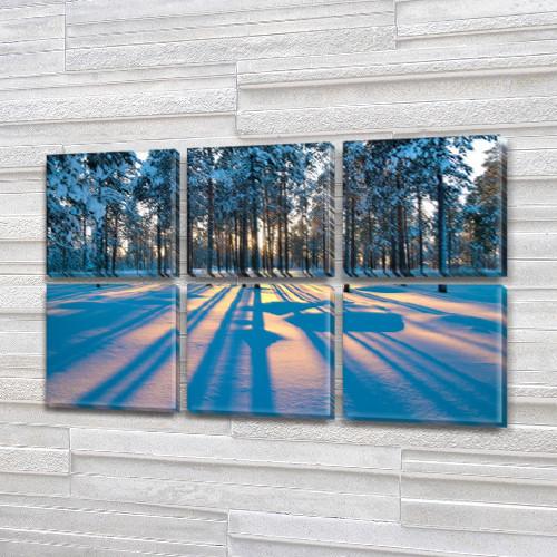 Модульная картина Тень от деревьев на снегу, зима на Холсте, 72x110 см, (35x35-6), из 6 частей
