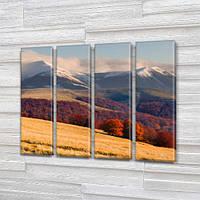 Модульная картина Горы Снег на вершинах гор и осень в долине на Холсте, 90x110 см, (90x25-4), из 4 частей