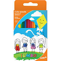 Цветные трёхгранные карандаши kite k17-048 jumbo 12 штук в картонной упаковке