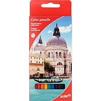 Цветные двухсторонние карандаши kite k17-054-2 Города 12 штук в картонной упаковке
