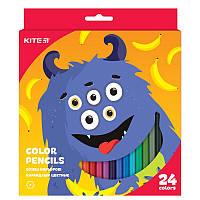 Цветные шестигранные карандаши kite k19-055-5 jolliers 24 штук