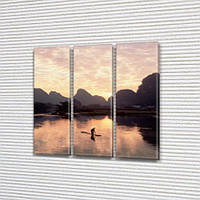 Модульная картина Лодка и озеро на фоне гор, на Холсте, 95x95 см, (95x30-3), Триптих